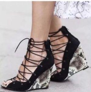 Zara Snakeskin Lace-up wedge heels